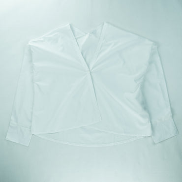 Plain Blouse with Surplice Neckline