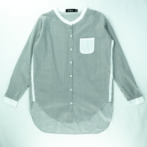 French Collar Front Pleated Shirts