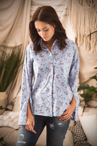 Floral Print Stripped Shirt for Women