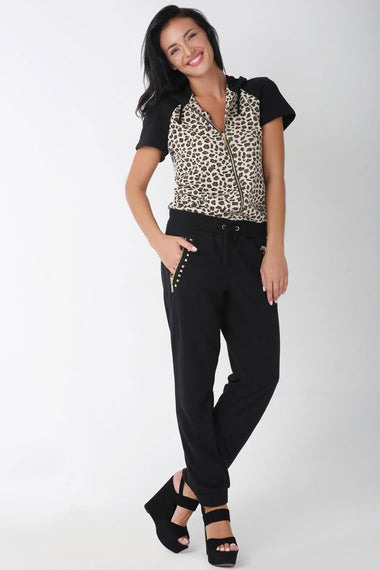Printed Shift Jumpsuit for Women (Black)