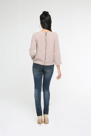 Double Hem And Zipper Top for Women