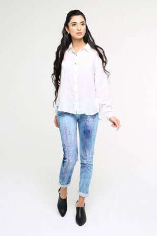Paint Splatter Skinny Jeans for Women