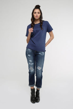 Ripped Boyfriend Fitted Jeans for Women
