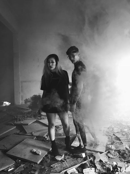 men and women modelling smokebombs