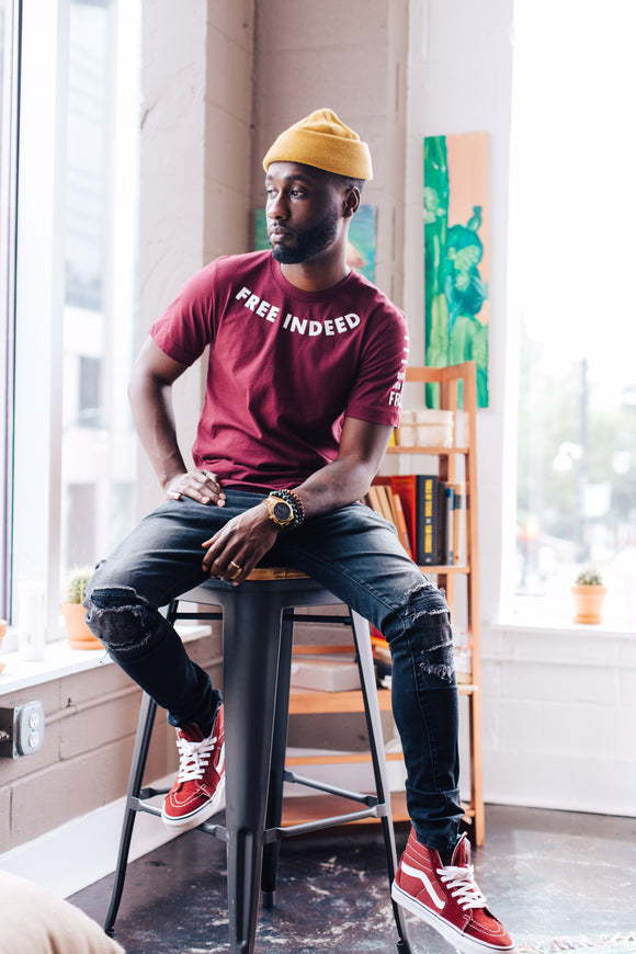 Free Indeed Tee (maroon)