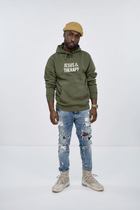 Jesus & Therapy Hoodie (army green)