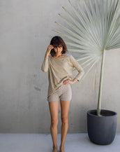 Yoga shorts - lines of Ochre