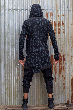 Mens Drape Jacket Black Coral - Idis Designs