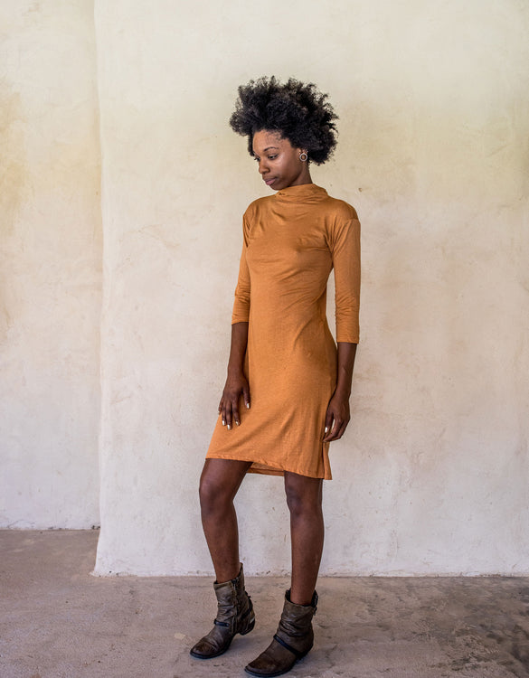 Linen Dress - Burnt Orange