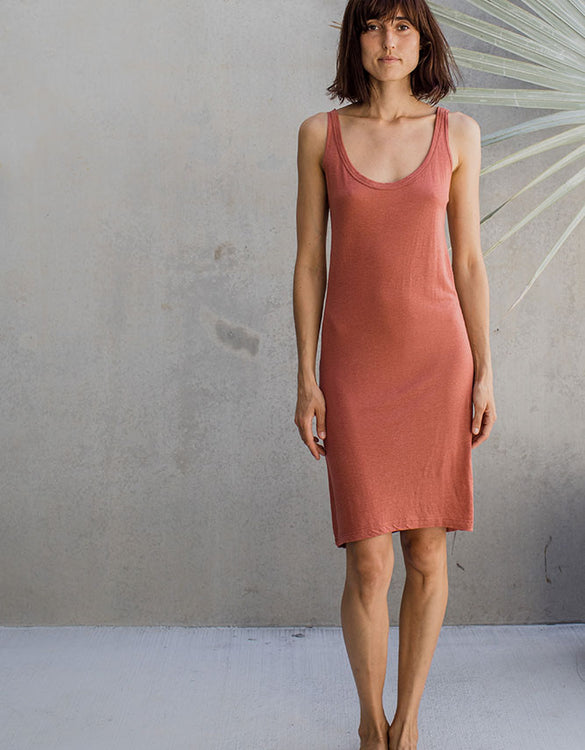Linen Tank Dress - Rusty Rose
