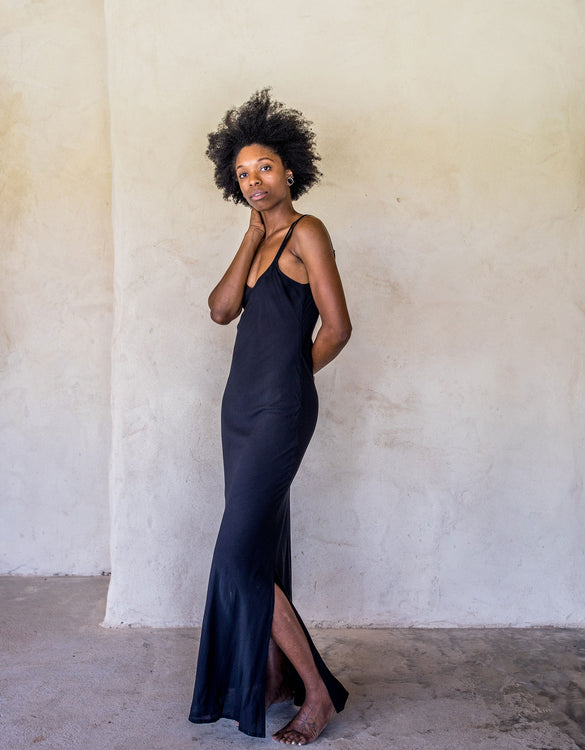 Long Slip Dress - Black