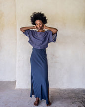 Long Slip Dress - Navy