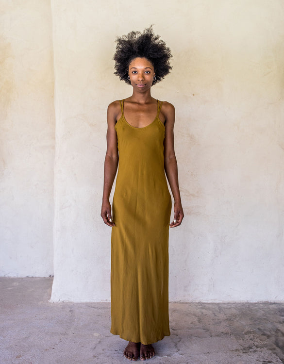 Long Slip Dress - Tumeric