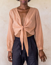 Long Sleeve Wrap - Nude