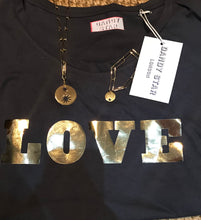 Dandy star charcoal grey and gold foil 'LOVE' short sleeve T-shirt's