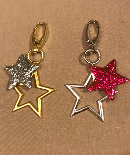 Star glitter key rings