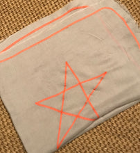 Star design mid weight scarf with bright/neon stitching