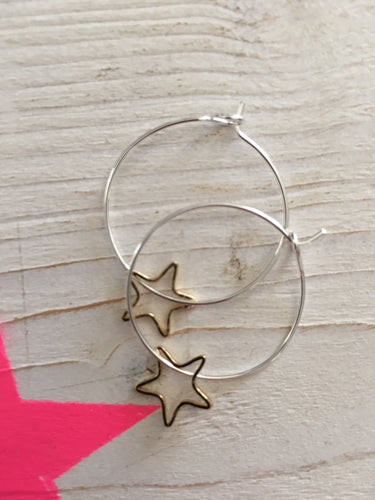 Small Open Star Hoop Earrings