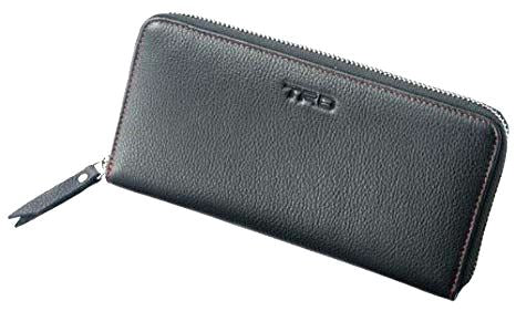 TRD JAPAN Genuine Leather Long Wallet with Red Stitching