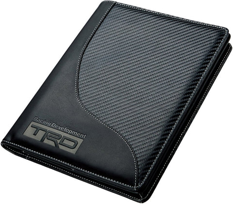 TRD JAPAN Carbon Pattern Leather Manual Case (White Stitching)