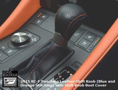 Genuine Lexus Japan 2015-2018 RC-F Punching Leather Shift Knob (Blue and Orange Stitching)