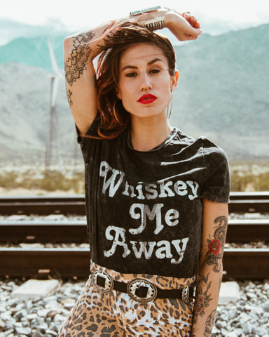 whiskey makes me frisky mineral wash desert tee by pebby forevee