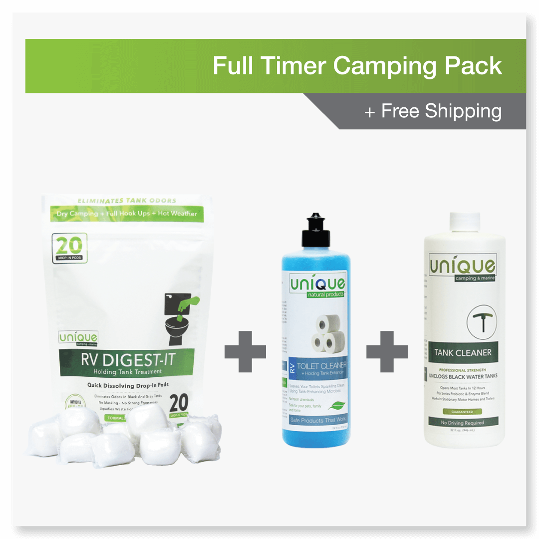 fulltimer pack includes RV Digest-It, Rv Toilet Cleaner and Tank Enhancer, and Unique Holding Tank Cleaner.