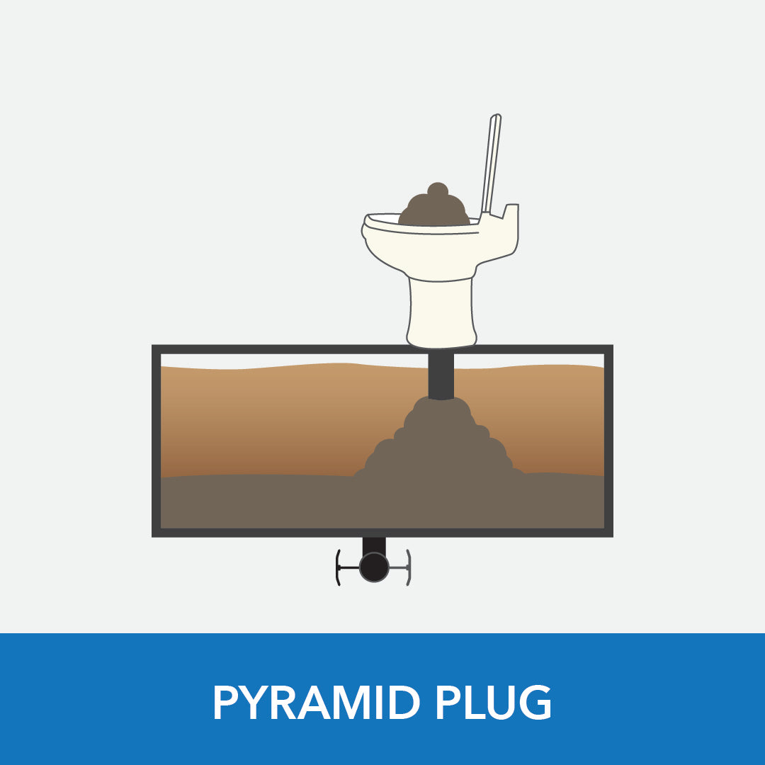 A pyrmaid plug can be common inside RV black tanks. Here is what it looks like. Unique Camping + Marine