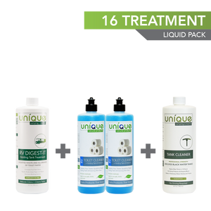 16 Treatment Full Timer Pack, Unique Camping + Marine. RV Digest-It, RV Toilet Cleaner, RV Tank Cleaner.