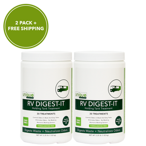 RV Digest-It Powder two-pack breakdown solid waste and reduce odors for dry campers. Prevent clogs and odors on the road. - Unique Camping + Marine