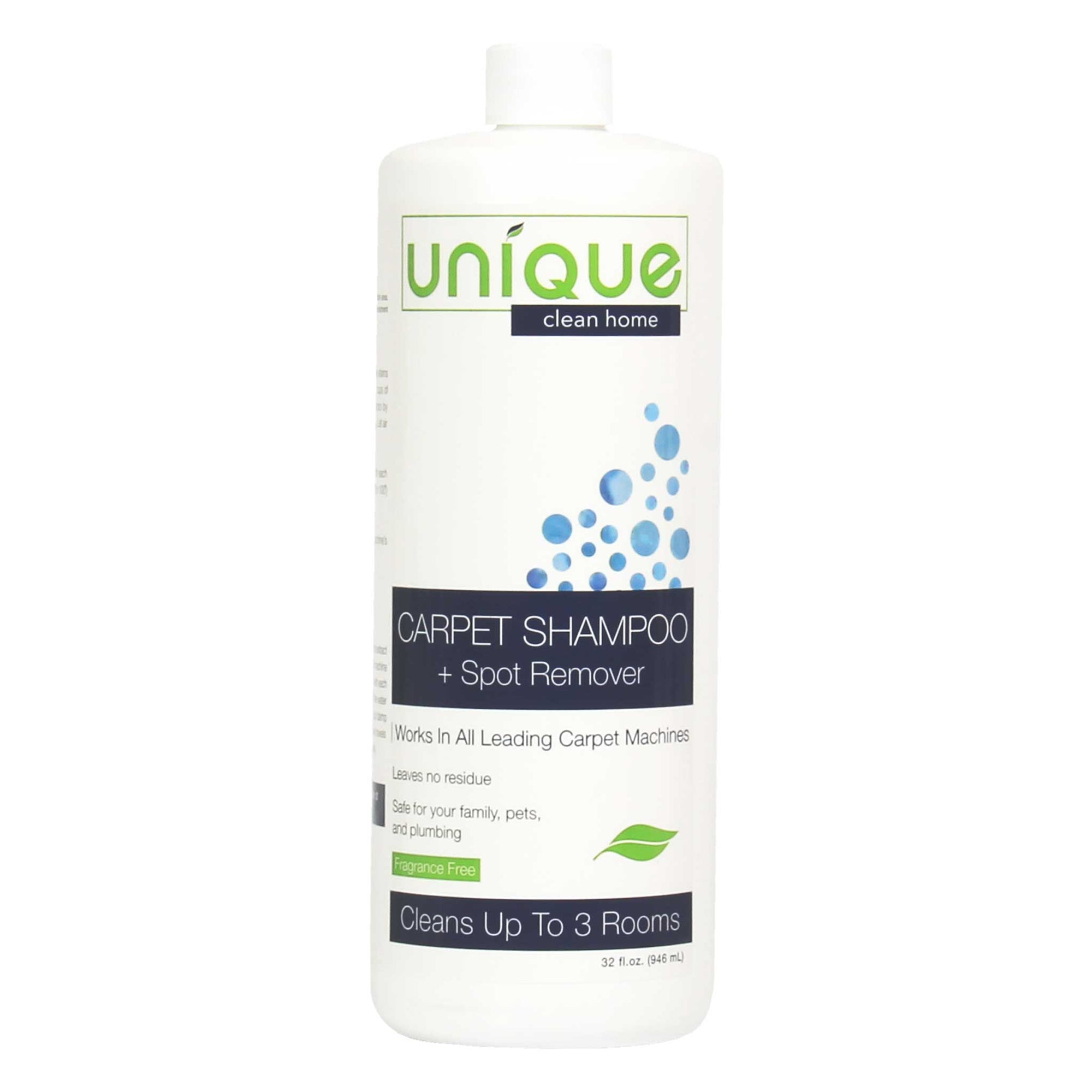 Unique Carpet Shampoo treats spots and stains using completely safe, non hazardous and eco friendly bacteria - Unique Clean Home
