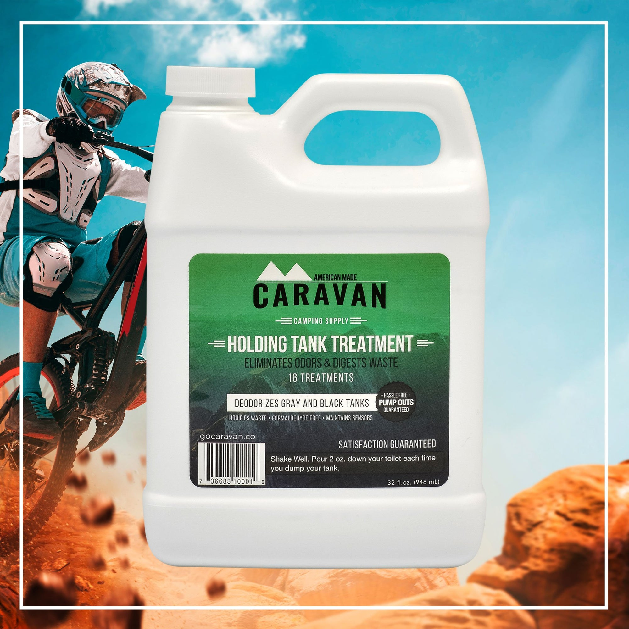 Caravan Holding Tank Treatment 16 treatment 32 oz. - eliminates odors and Digests waste