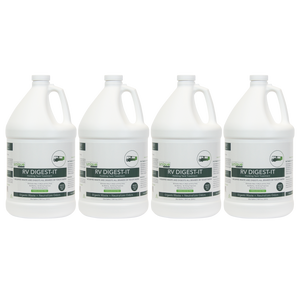 RV Digest-It Gallon 4 Pack 64 Treatment Bottle. The best RV holding tank treatment. RV Digest-It is the most advanced holding tank treatment available with the most effective bacteria and enzyme strains. Digests solid waste, removes odors, and maintains working sensor probes.