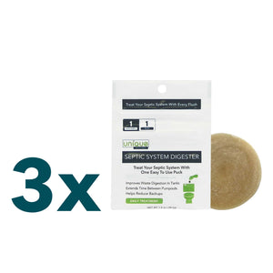 3 Pack of Septic System Digester Puck - One Puck Treats Your Septic System With Each Toilet Flush For One Month. Evenly treats your septic system every day instead of flushing your tank with a heavy treatment once per month.