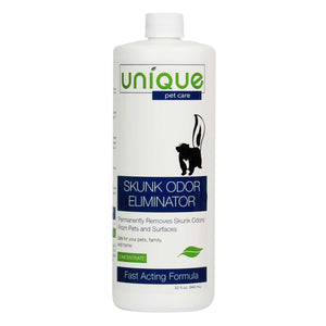 Unique Skunk Odor Eliminator concentrate. Works to remove harsh odors from skunk sprays, Safe and eco-friendly, use on surfaces, pets and people.