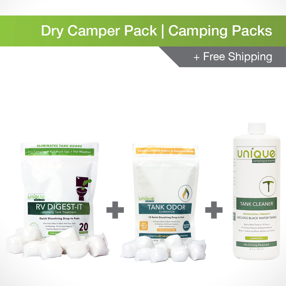 Dry Camper Camping Pack, Includes RV Digest-It 20 pack, Tank Odor Eliminator and Tank Cleaner - Unique Camping + Marine