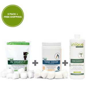 Unique Camping + Marine Dry Camping Pack is perfect for all your dry camping excursions, Comes with RV Digest-It, Tank Odor Elminator, and Tank Cleaner -  Unique Camping + Marine