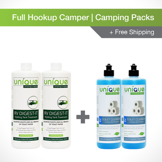 This Full Hookup Camping Pack is perfect to treat your holding tanks while you stay at RV parks and campgrounds with all of the amenities you need! RV Digest-It and RV Toilet Bowl Cleaner + Tank Enhancer will work together to keep your toilet clean and your holding tanks cleaner! Prevent odors and clogs with our Full Hookup Camping Pack.