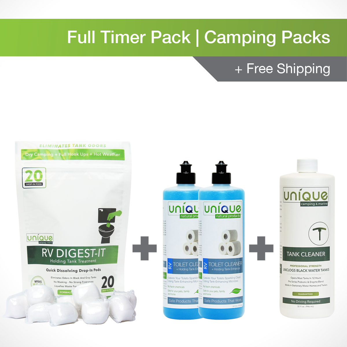 Fulltimer Camping Pack. RV Digest-It, Drop-in pods RV Toilet Cleaner