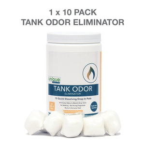 Unique RV Tank Odor Eliminator works quickly to completely eliminate odors in your RV. Tank Odor Eliminator prevents harsh odors even in the highest heat!