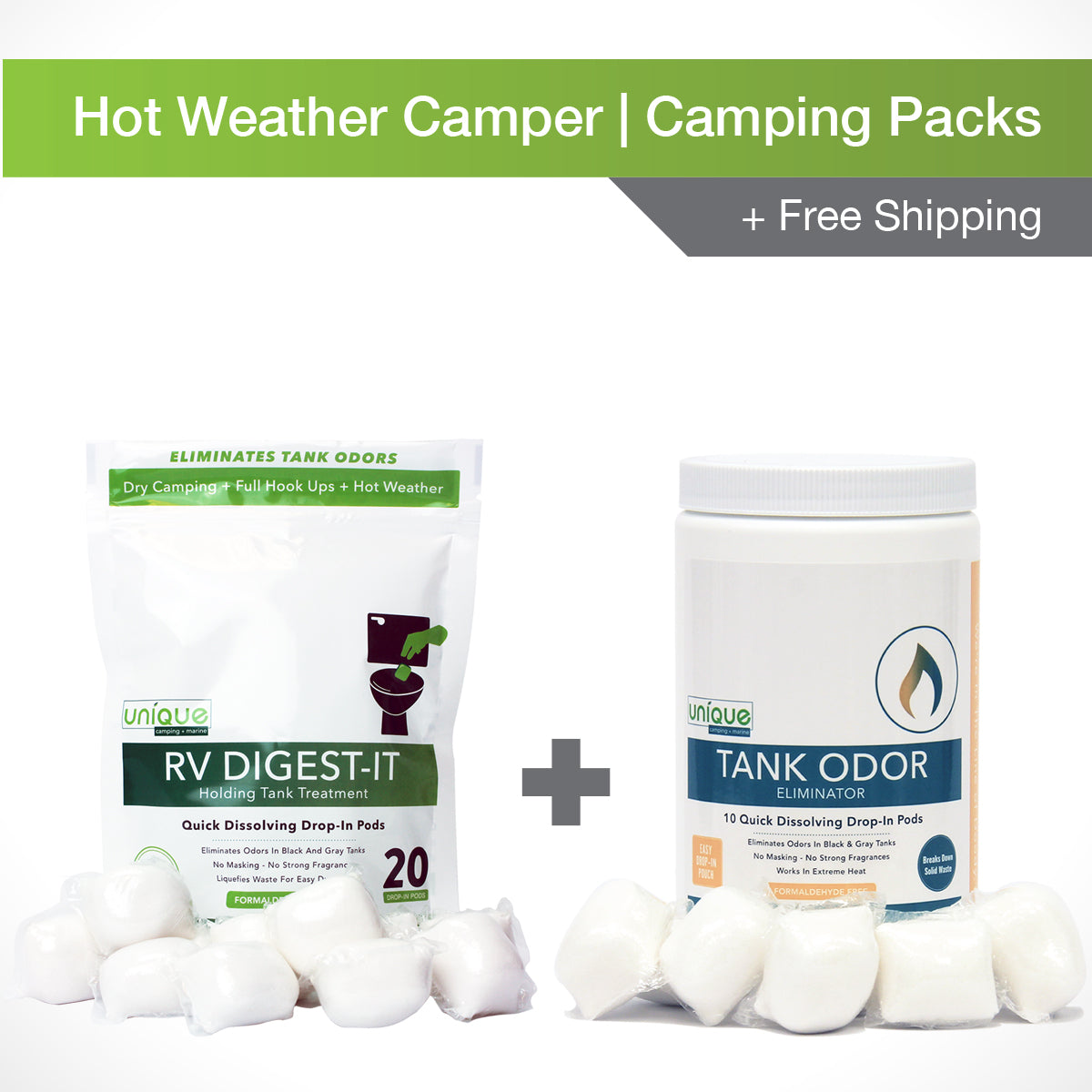 Our Hot Weather Camping Pack treats your holding tank in the hottest temperatures. Use RV Digest-It to break down waste and Tank Odor Eliminator to Eliminate tough odors in high heat! Unique Camping + Marine