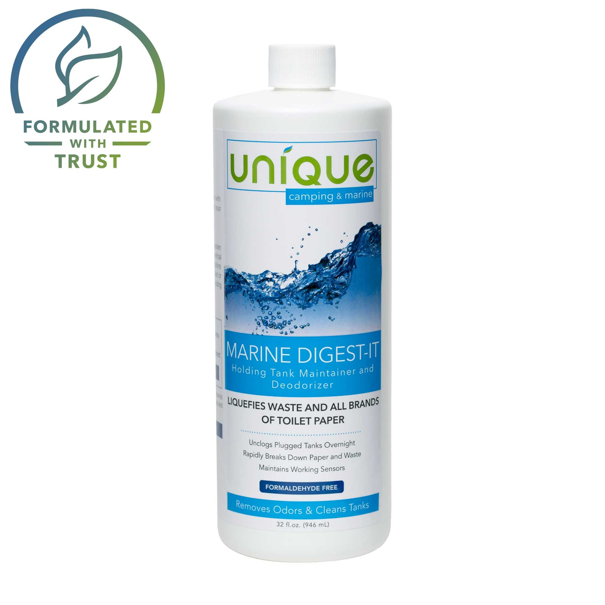 Marine Digest-It 32 oz liquid safe eco friendly natural. Eliminates toilet tank odors, prevents clogs, and maintains sensor probes and floats in boats. Unique Camping + Marine