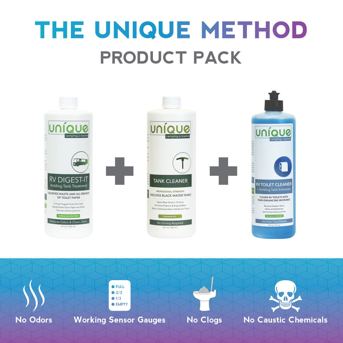The Unique Method Product Pack Image RV Digest-It RV Toilet Bowl Cleaner RV Tank Cleaner Bottles