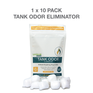 Eliminate odors with Tank Odor Eliminator. Perfect for high heat and dry camping 10 pack drop in pod - Unique Camping + Marine