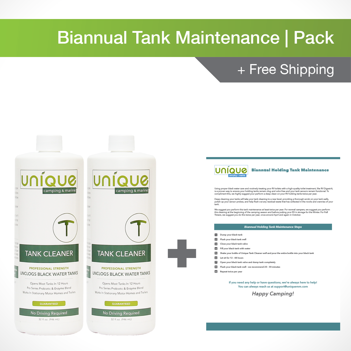 Our Biannual Tank Maintenance Pack is exactly what you need to keep your RV waste water systems at top performance. Purchase this RV camping pack and get two bottles of Unique Tank Cleaner and a free guide to maintaining your holding tanks.