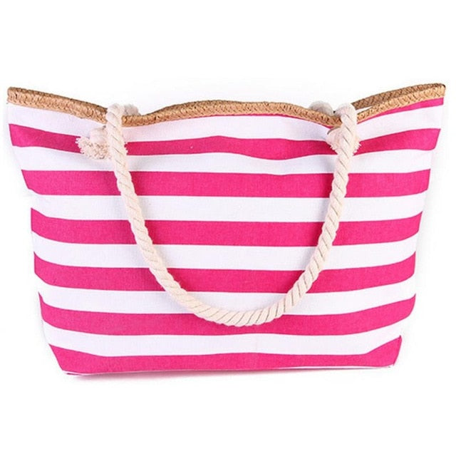 2019 New Beach Tote Bag Fashion Women Canvas Summer Large Capacity Striped Shoulder Bag Tote Handbag Shopping Shoulder Bags
