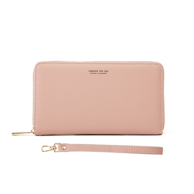 Women Leather Wallets Female Long Wristband Purses Phone Cion Card Holders Ladies Big Capacity Clutch Carteras Passeport Pocket