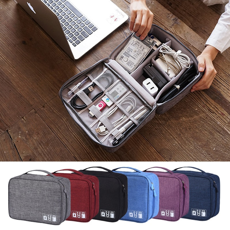 Portable Cable Digital Storage Bags Organizer USB Gadgets Wires Charger Power Battery Zipper Cosmetic Bag Case Accessories Item