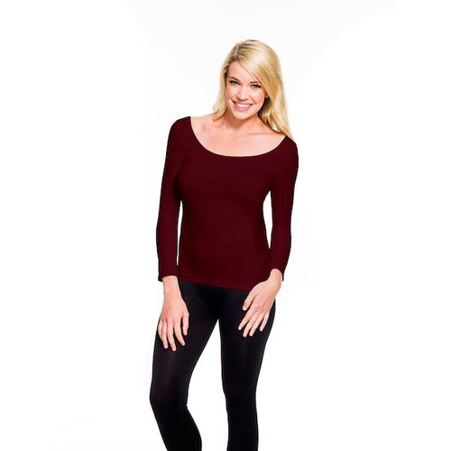 3/4 Sleeve Scoopneck Tee by Skinnywear in Cranberry