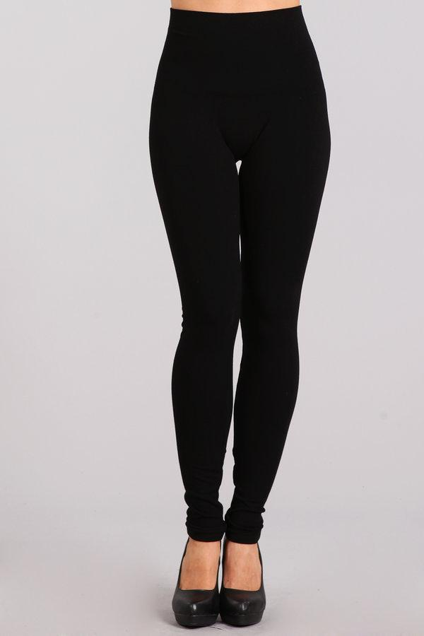 Tummy Tuck Solid High Waist Leggings by M Rena in Black